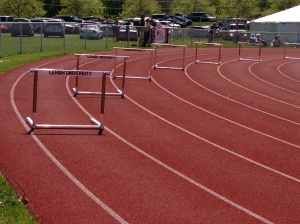 400m Hurdles set up.  Even six years after my last race these still make me feel nauseous.